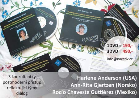 set of DVDs from passed workshops with therapists Harlene Anderson, Rocío Chaveste-Gutiérrez and Ann-Rita Gjertzen